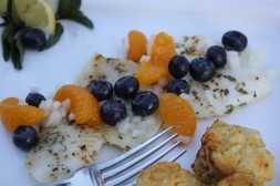 Baked Tilapia with Fresh Georgia Blueberry and Mandarin Orange Salsa